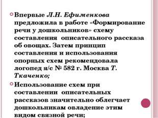 Впервые Л.Н. Ефименкова предложила в работе «Формирование речи у дошкольников