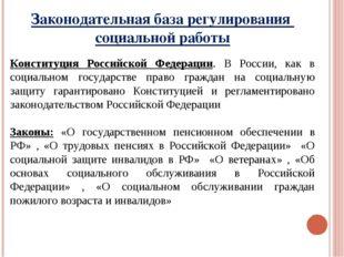 Законодательная база регулирования социальной работы Конституция Российской Ф