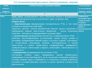 4.3. Технологическая карта урока «Закон сохранения энергии» Номер учебного эл