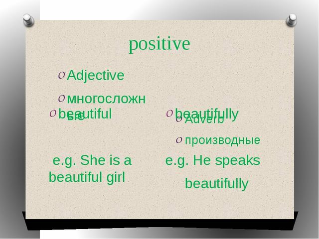 positive Adjective многосложные Adverb производные beautiful e.g. She is a be...