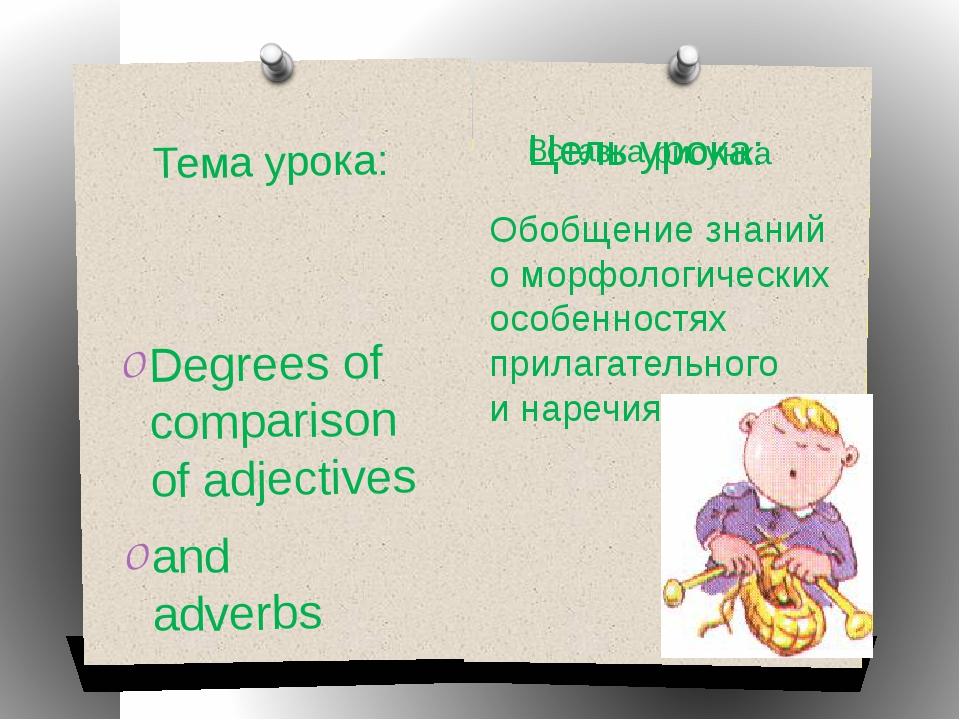 Тема урока: Degrees of comparison of adjectives and adverbs Цель урока: Обобщ...