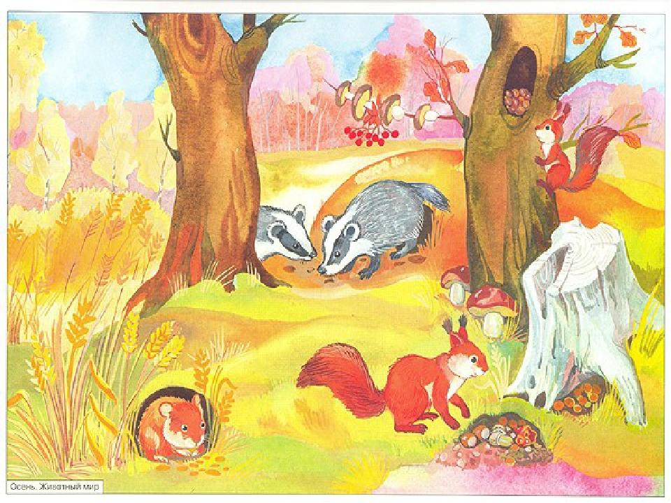 Осенний рисунок с животными