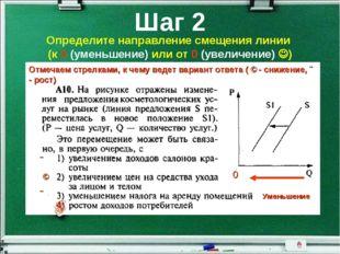 Шаг 2 Определите направление смещения линии (к 0 (уменьшение) или от 0 (увели