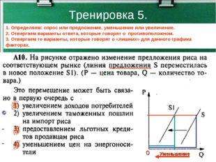 Тренировка 5. 1. Определяем: спрос или предложение, уменьшение или увеличение