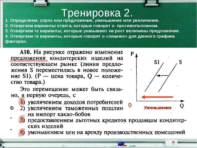 Тренировка 2. 0 Уменьшение 1. Определяем: спрос или предложение, уменьшение и...