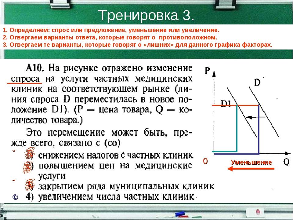 Тренировка 3. 1. Определяем: спрос или предложение, уменьшение или увеличение...