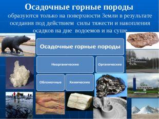 Осадочные горные породы образуются только на поверхности Земли в результате о
