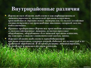 Внутрирайонные различия Воронежская область выделяется квалифицированным маши