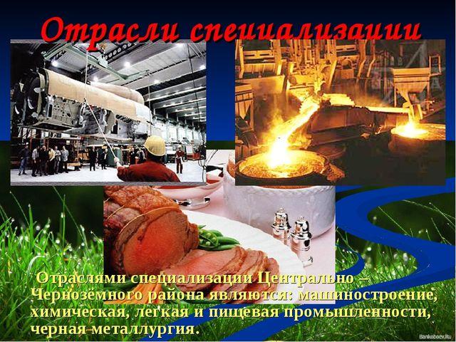 Отрасли специализации Отраслями специализации Центрально – Чернозёмного район...