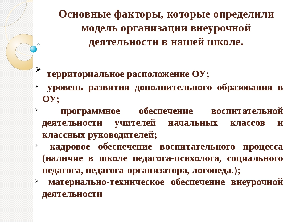 Основные факторы, которые определили модель организации внеурочной деятельнос...