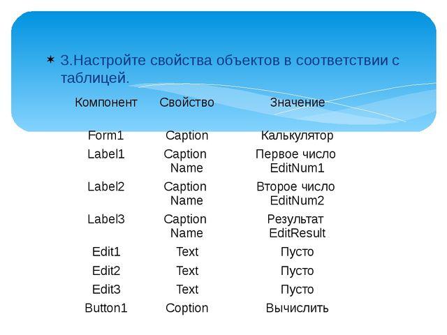 3.Настройте свойства объектов в соответствии с таблицей. Компонент Свойство З...