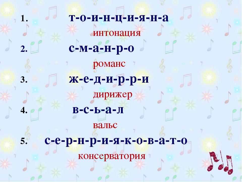 1. т-о-и-н-ц-и-я-н-а интонация 2. с-м-а-н-р-о романс 3. ж-е-...