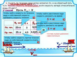 Составь и реши уравнение самостоятельно 1. На путь по течению реки катер затр