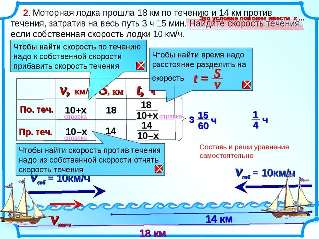2. Моторная лодка прошла 18 км по течению и 14 км против течения, затратив н...
