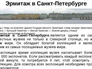 Эрмитаж в Санкт-Петербурге Эрмитаж в Санкт-Петербургеявляется одним из самых