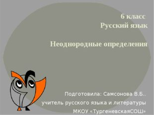 6 класс Русский язык Неоднородные определения Подготовила: Самсонова В.Б.. уч