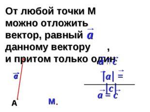 От любой точки М можно отложить вектор, равный данному вектору , и притом тол