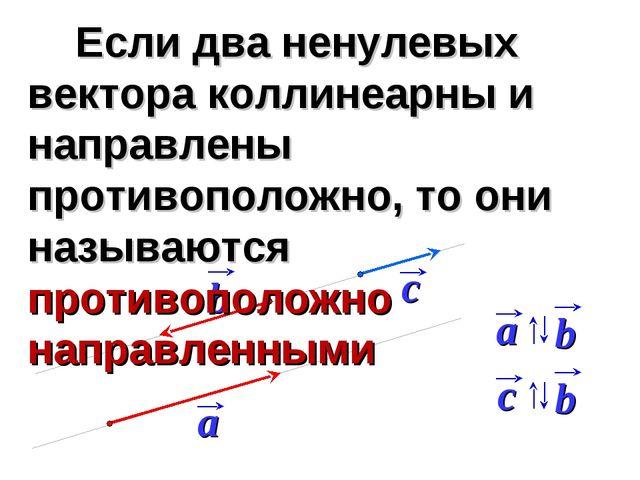 Если два ненулевых вектора коллинеарны и направлены противоположно, то они н...