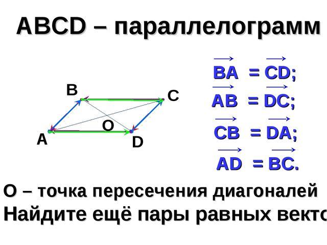 О – точка пересечения диагоналей Найдите ещё пары равных векторов АВСD – пара...