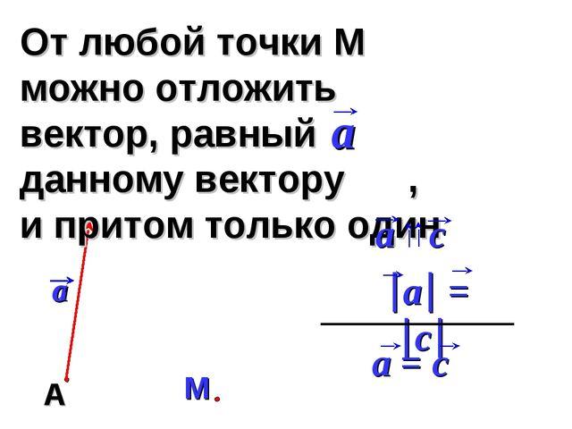 От любой точки М можно отложить вектор, равный данному вектору , и притом тол...