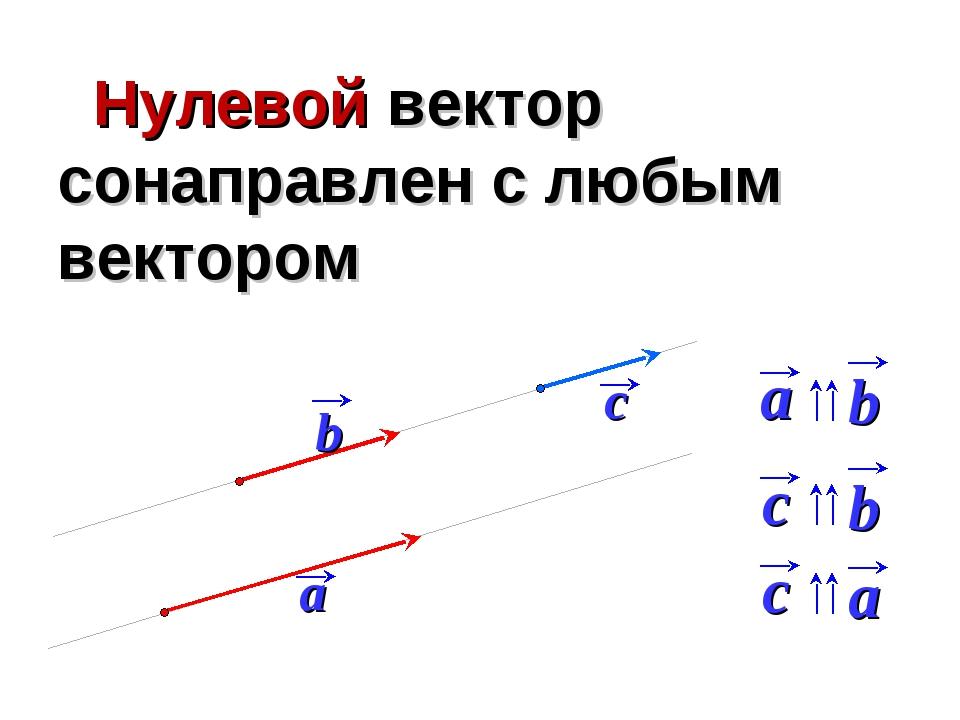 Нулевой вектор сонаправлен с любым вектором