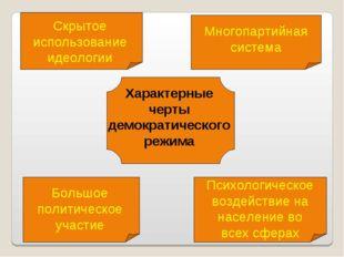 Характерные черты демократического режима Скрытое использование идеологии Мно