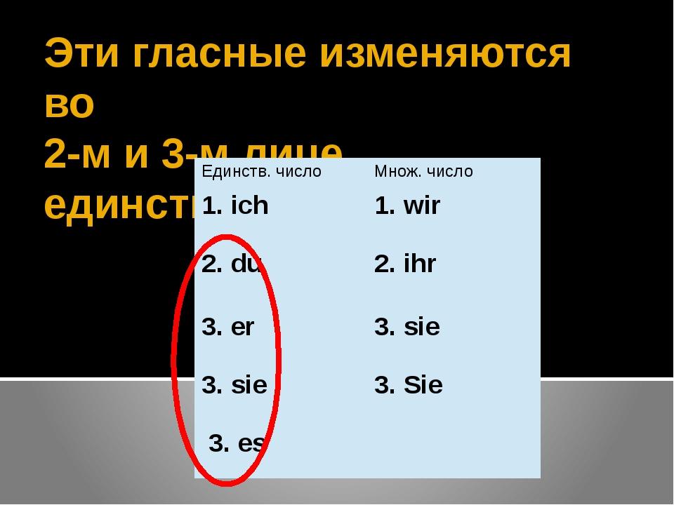 Эти гласные изменяются во 2-м и 3-м лице единственного числа Единств. число М...