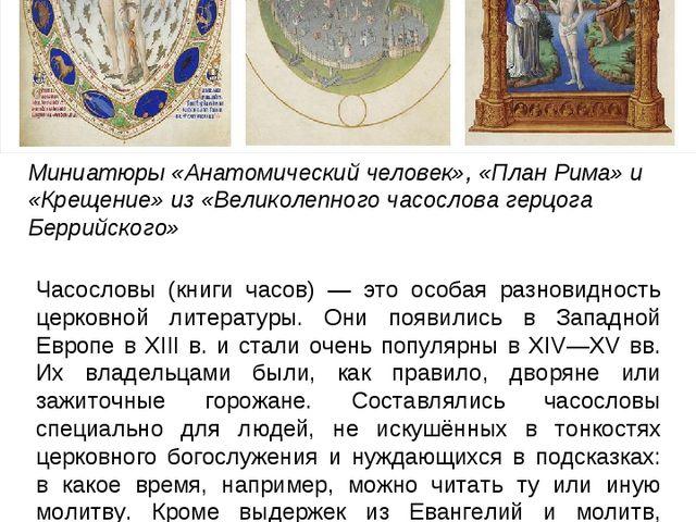 Миниатюры «Анатомический человек», «План Рима» и «Крещение» из «Великолепного...