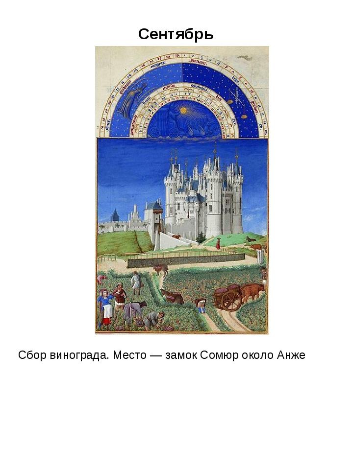Сентябрь Сбор винограда. Место — замок Сомюр около Анже