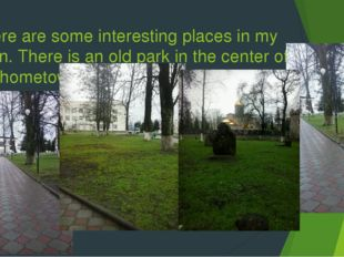 There are some interesting places in my town. There is an old park in the cen