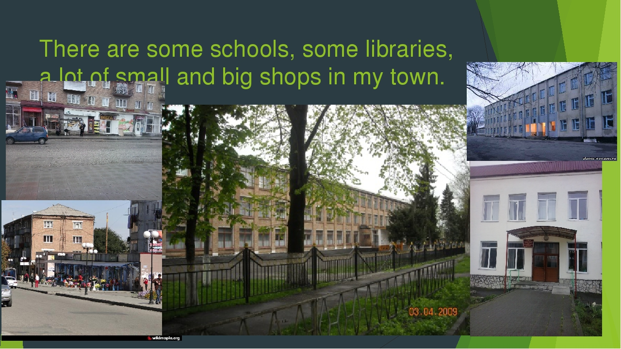 There are some schools, some libraries, a lot of small and big shops in my to...
