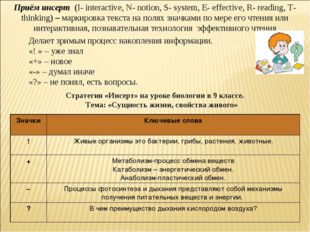 Приём инсерт (I- interactive, N- notion, S- system, E- effective, R- reading,