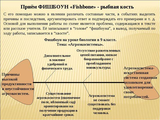 Приём ФИШБОУН «Fishbone» - рыбная кость С его помощью можно в явлении различа...