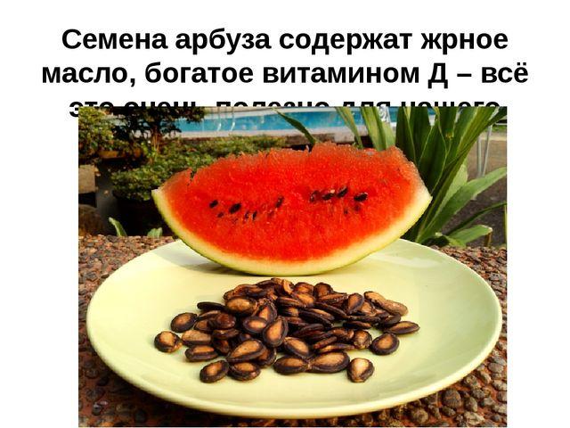 Семена арбуза содержат жрное масло, богатое витамином Д – всё это очень полез...