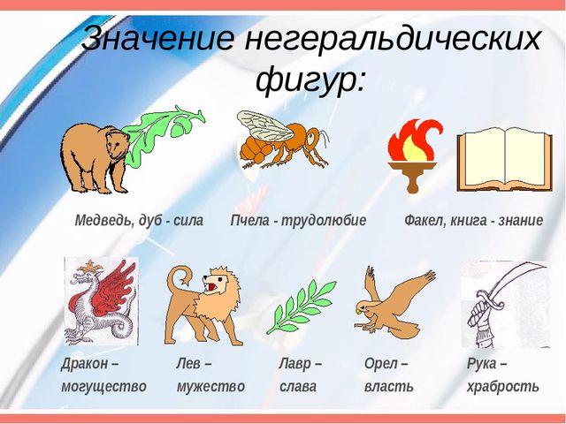 Значение негеральдических фигур: Медведь, дуб - сила Пчела - трудолюбие Факел...