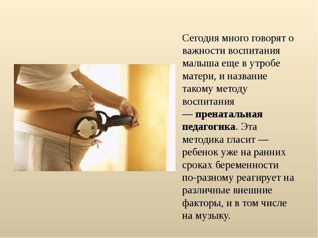 Сегодня много говорят о важности воспитания малыша еще в утробе матери, и наз...