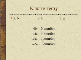 Ключ к тесту 1. б 2. б 3. а «5» - 0 ошибок «4» - 1 ошибка «3» - 2 ошибки «2»