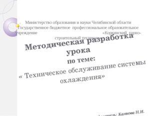 Министерство образования и науки Челябинской области Государственное бюджетн