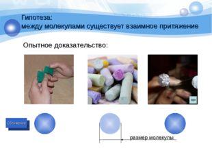 Гипотеза: между молекулами существует взаимное притяжение Опытное доказательс