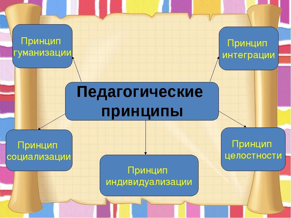 Принцип гуманизации Принцип социализации Принцип индивидуализации Принцип цел...