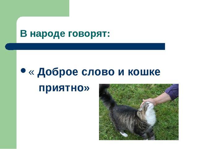В народе говорят: « Доброе слово и кошке приятно»