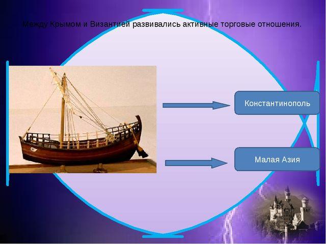 Между Крымом и Византией развивались активные торговые отношения. Константино...