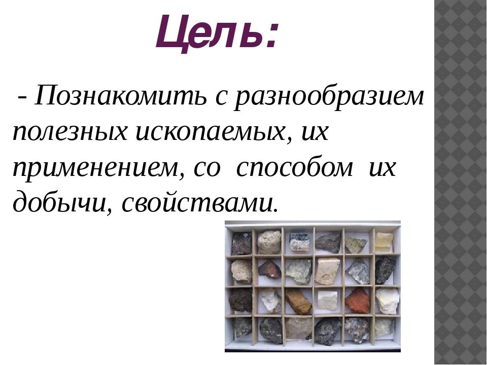 Цель: - Познакомить с разнообразием полезных ископаемых, их применением, со...