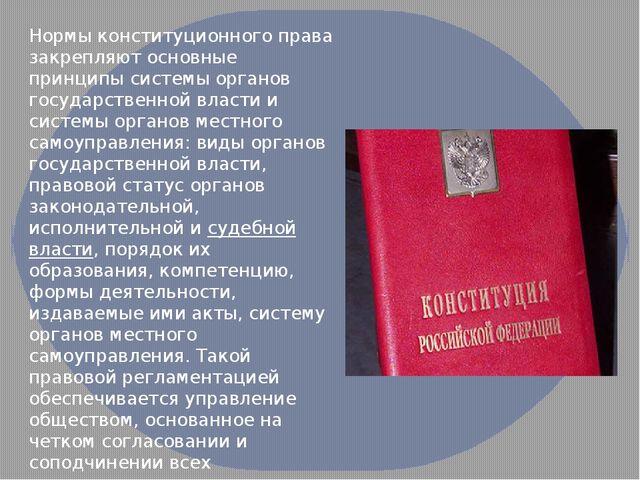 Нормы конституционного права закрепляют основные принципы системы органов гос...