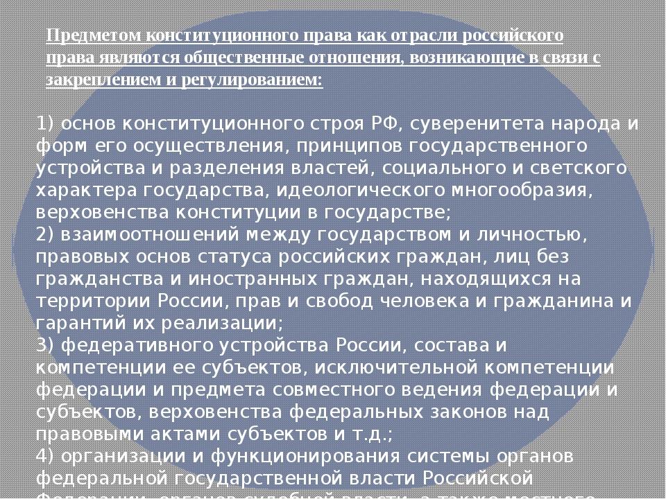 Предметом конституционного права как отраслироссийского праваявляются общес...
