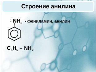 Строение анилина NH2 - фениламин, анилин С6Н5 – NH2