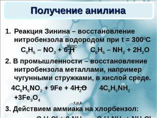 Получение анилина Реакция Зинина – восстановление нитробензола водородом при