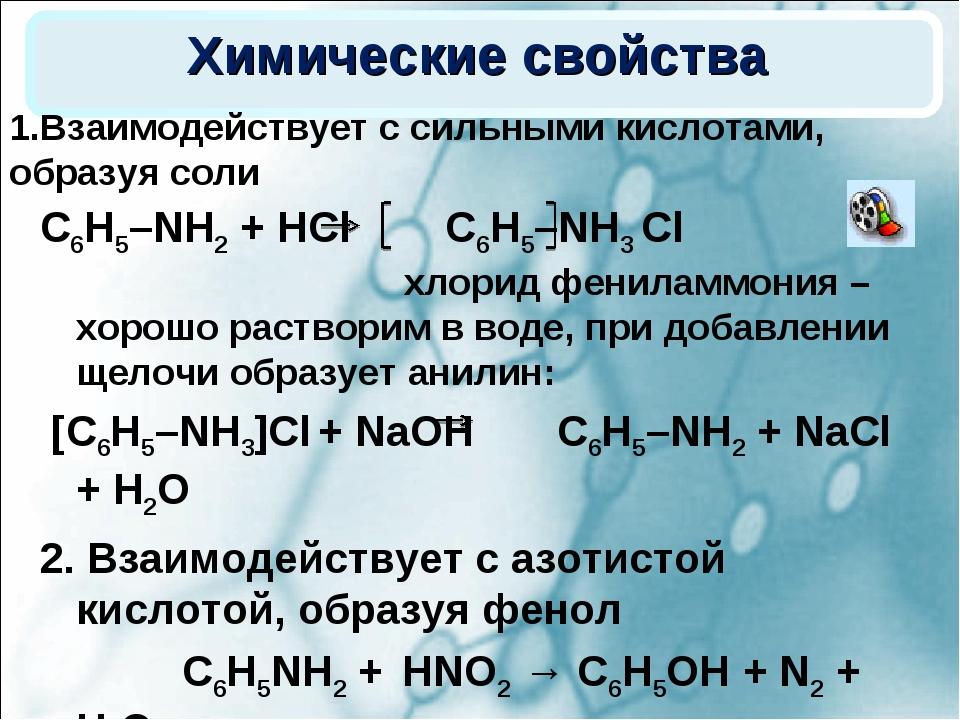 Химические свойства С6Н5–NH2 + HCl С6Н5–NH3 Cl хлорид фениламмония – хорошо р...