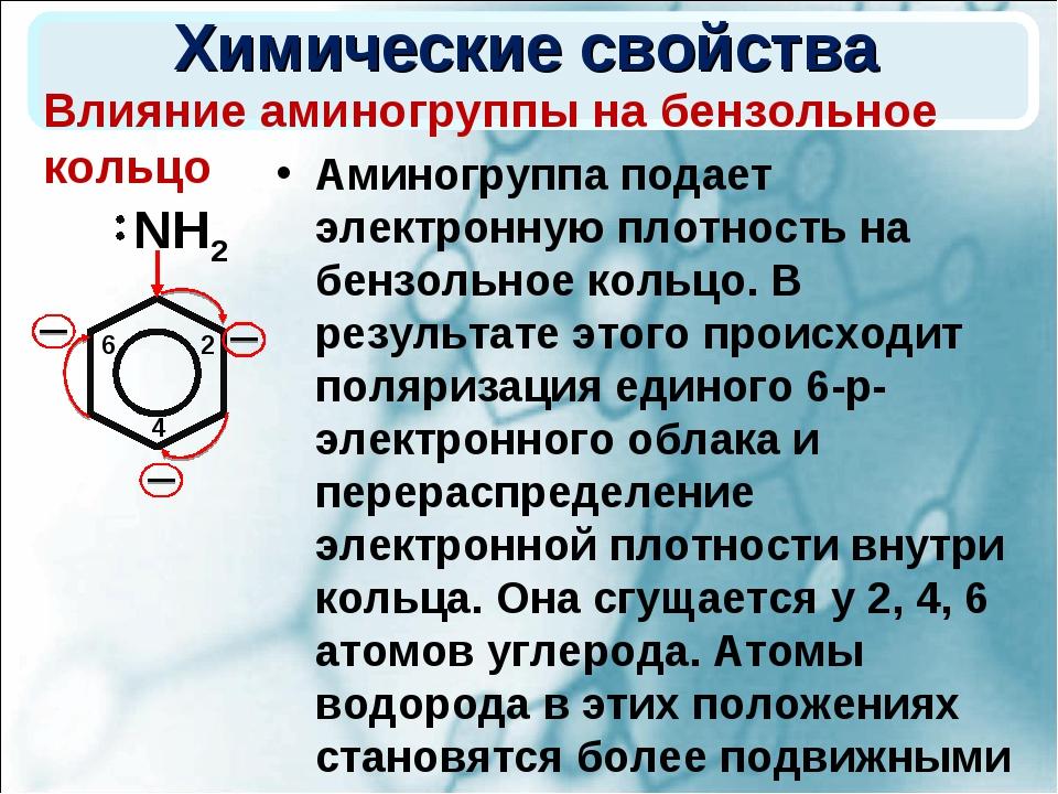 Химические свойства Аминогруппа подает электронную плотность на бензольное ко...
