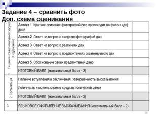 Задание 4 – сравнить фото Доп. схема оценивания *